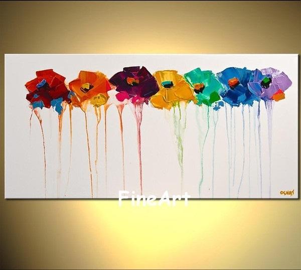 живопись цветы на белом фоне 009
