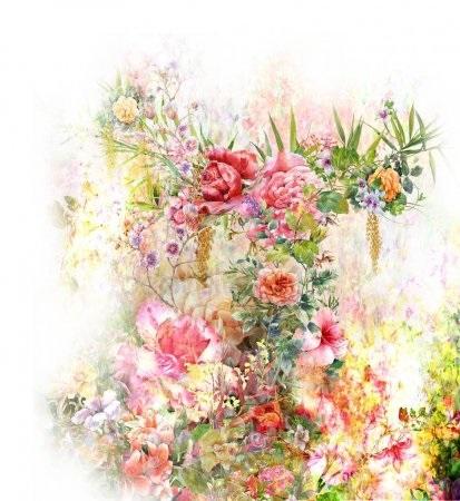 живопись цветы на белом фоне 012