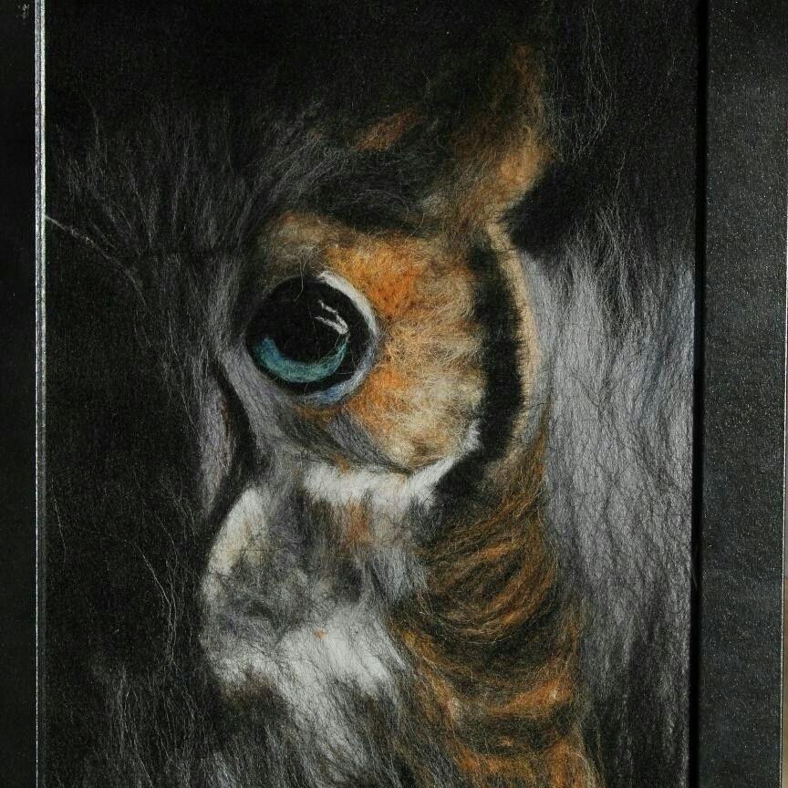 картина совы из шерсти 002
