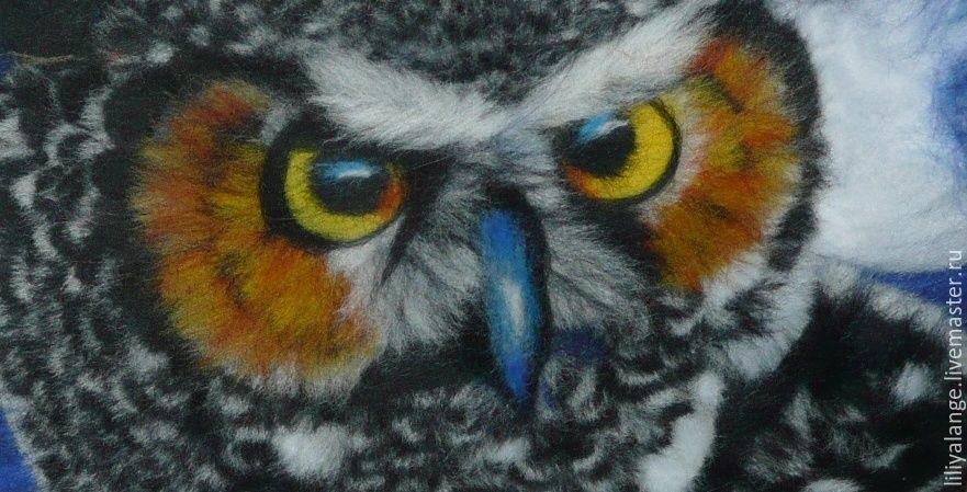 картина совы из шерсти 009