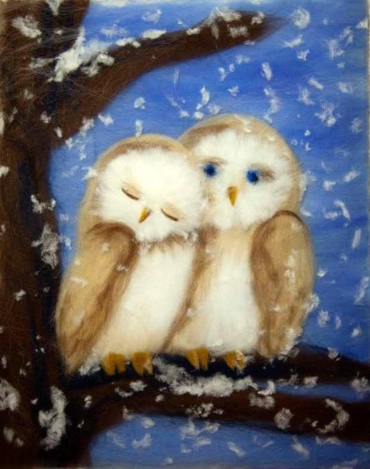 картина совы из шерсти 010