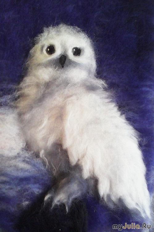 картина совы из шерсти 013