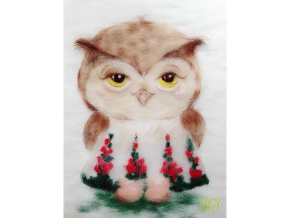 картина совы из шерсти 015