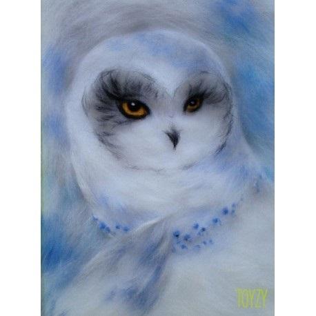 картина совы из шерсти 018
