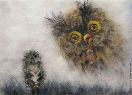 картина совы из шерсти 019