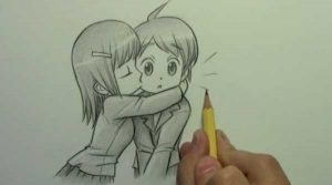 картинки аниме пары карандашом 022