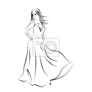 картинки силуэт девушки в платье 018