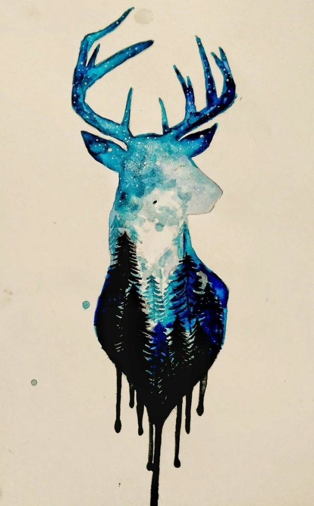 картинки с оленями для срисовки 002