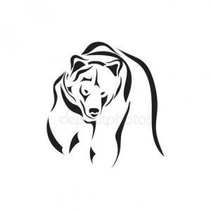 контур медведя тату 023