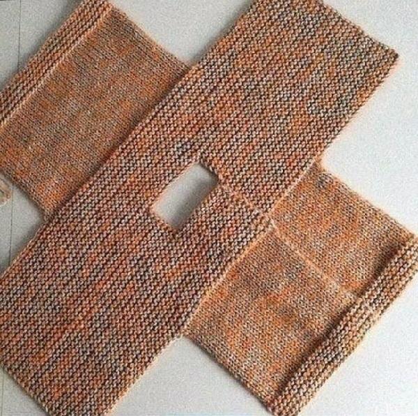 кофта спицами платочной вязкой 002