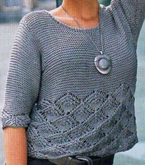 кофта спицами платочной вязкой 007
