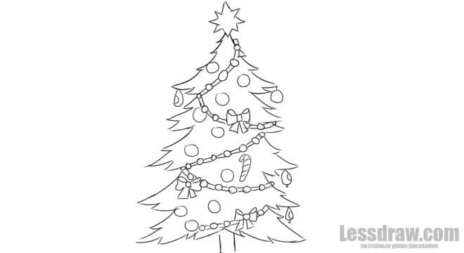 красивые елки рисунки на новый год 007