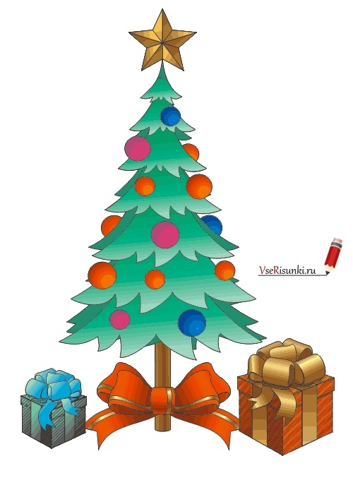 красивые елки рисунки на новый год 020
