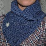 Крючком шарф на пуговицах — сборка