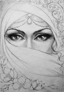 мусульманка рисунок карандашом 023