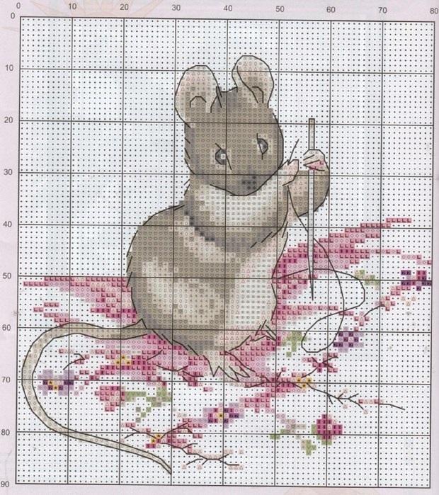 мышки схемы вышивка крестом 003