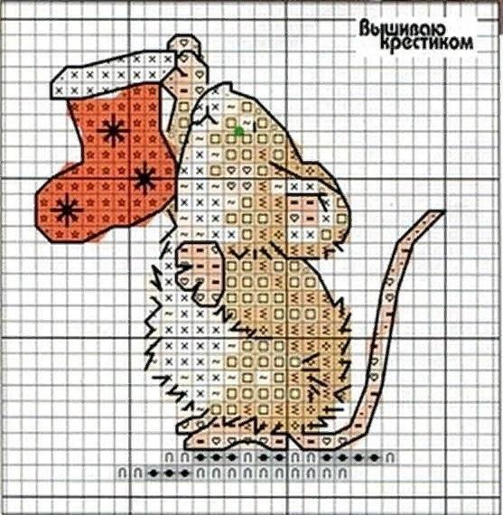 мышки схемы вышивка крестом 007