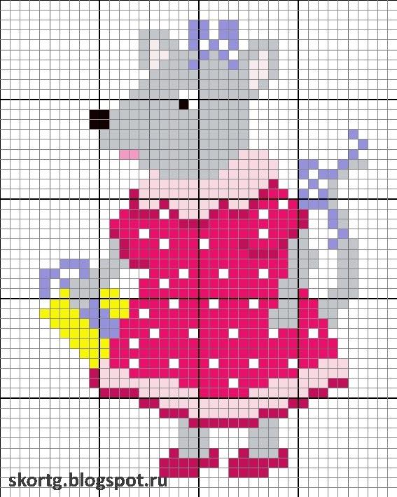 мышки схемы вышивка крестом 009