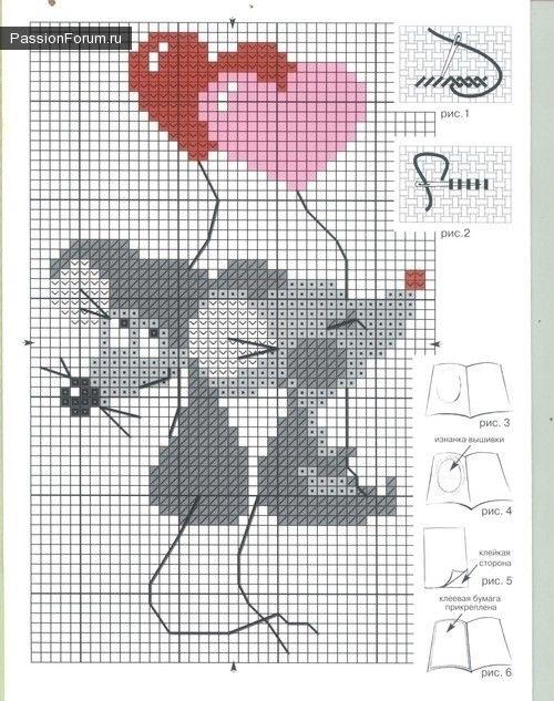 мышки схемы вышивка крестом 011
