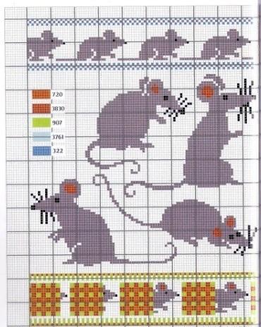 мышки схемы вышивка крестом 015