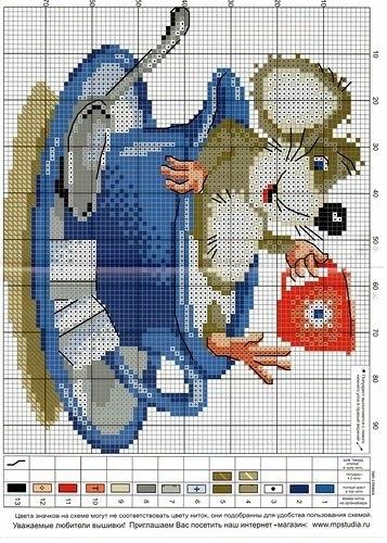 мышки схемы вышивка крестом 016