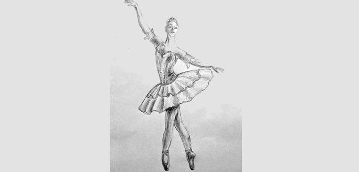 набросок карандашом балерины 002