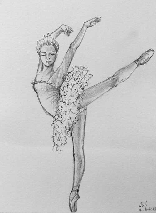 набросок карандашом балерины 007