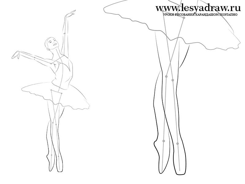 набросок карандашом балерины 009