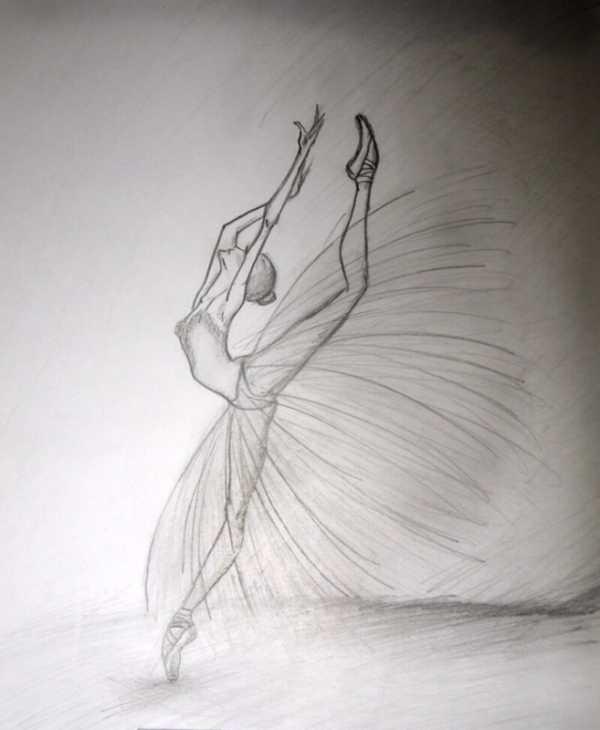 набросок карандашом балерины 010