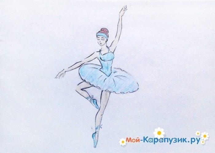 набросок карандашом балерины 011