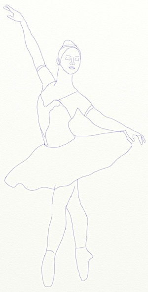 набросок карандашом балерины 012