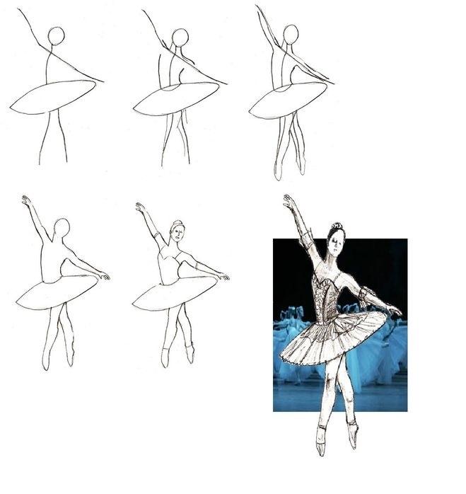 набросок карандашом балерины 013