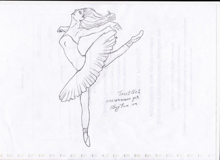 набросок карандашом балерины 015