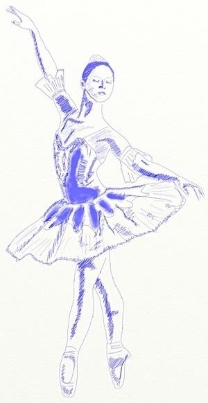 набросок карандашом балерины 017