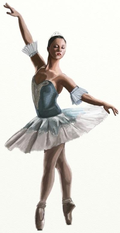 набросок карандашом балерины 018