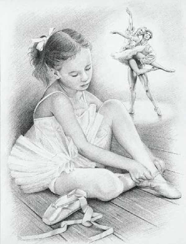 набросок карандашом балерины 019