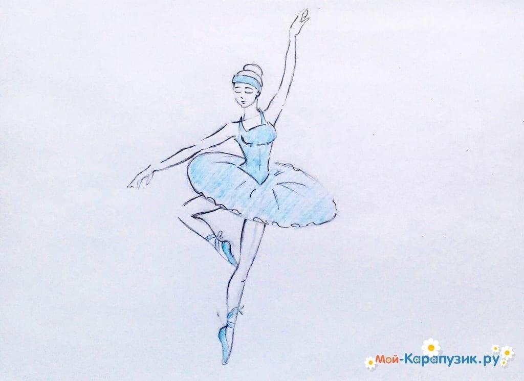 набросок карандашом балерины 020
