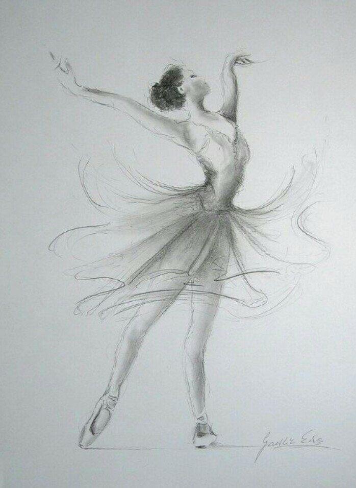 набросок карандашом балерины 023