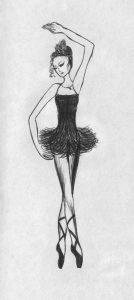набросок карандашом балерины 024