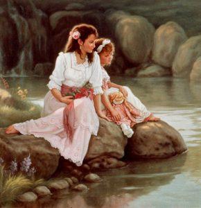 нарисованные картинки мама с дочкой 023