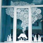 На новый год на окна рисунки — фотки