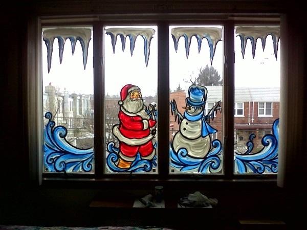 на новый год рисунки на окна 022