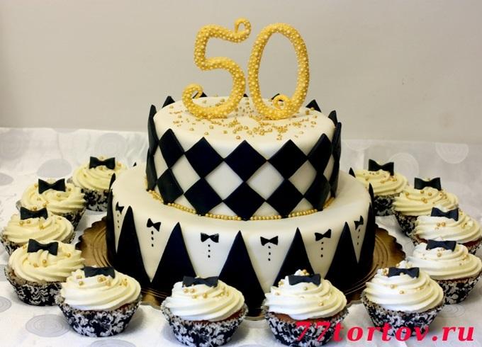 на 50 лет как украсить торт 006