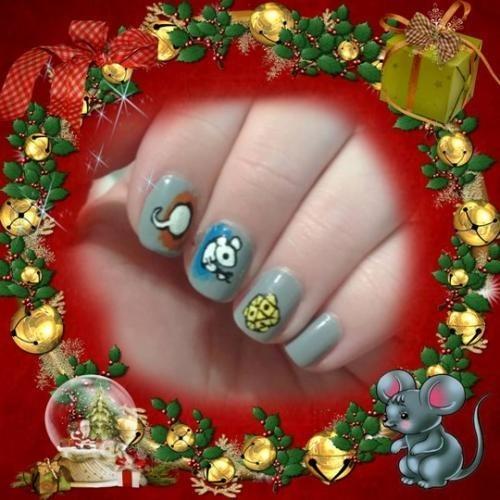 ногти на новый год крысы 019