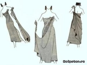 одежда из куска ткани без шитья 021