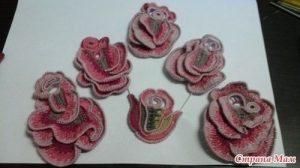 плоские розы крючком схемы 022