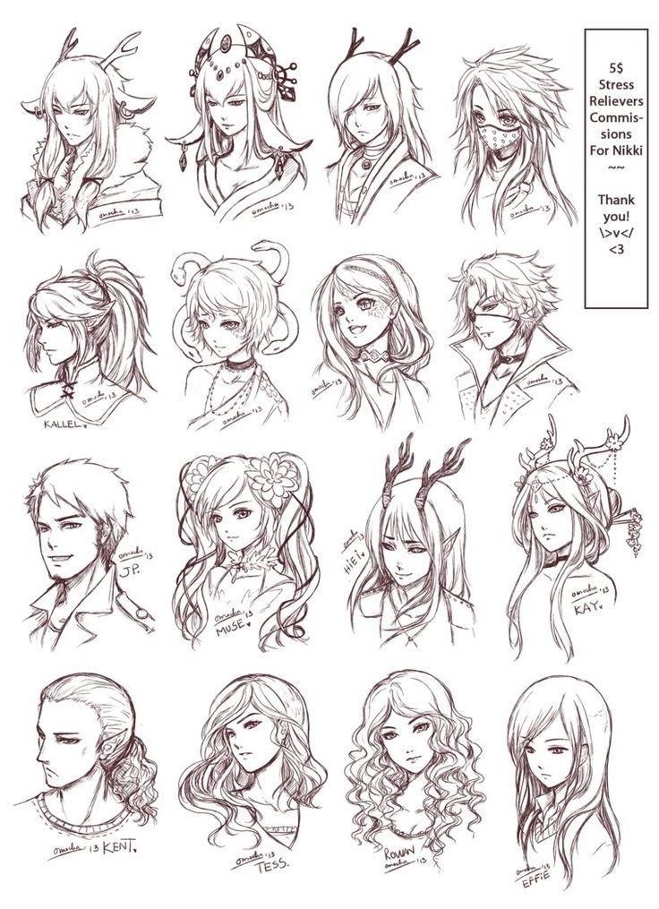 простые скетчи девушек 001