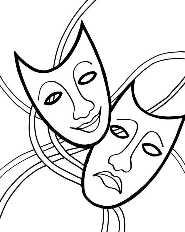 Картинки раскраски театральные маски