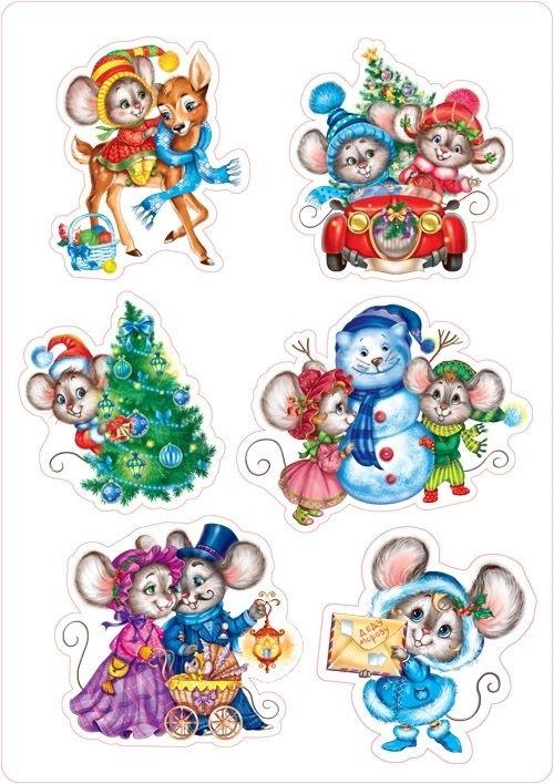 рисунки новогодних персонажей 005