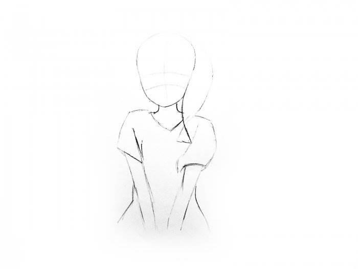 рисунок девушки по пояс 002